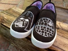 Star Wars Custom Hand-Painted Toddler Shoes - Darth Vader/Death Star (Whole Sizes)