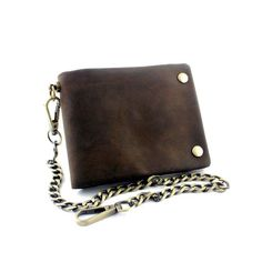 Tow Brass Snap Button Men Biker Rock Case Cilp Wallet With Chain