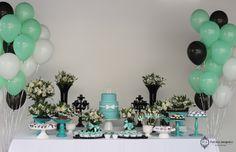 Decoração Festa de Aniversario de 60 Anos tema Tiffany by Patricia Junqueira. www.patriciajunqueira.com.br