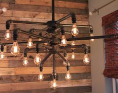 Large Black Iron Pipe 19 Light Chandelier w/ Candelabra Edison style Bulbs