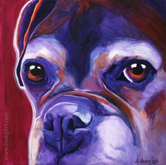 Colorful Pet Portrait Boxer Dog Art Print 8x8 by Alicia VanNoy Call ............. The eyes ♥