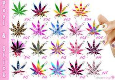 Nail Art Decals Stickers Pot Leaf Weed Smoke Blaze Herb Bud 420 Rasta POT901