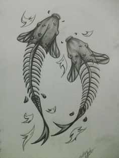 skele koi tattoo design by xBrokenDaydream.deviantart.com on @deviantART ~~ interesting twist on the Koi fish tattoo. I really like it.