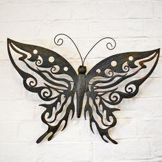 Decorative metal butterfly garden wall art design black/brown finish free p&p - Schmetterling Garden Wall Art, Diy Wall Art, Home Wall Art, Stencil, Plasma Cutter Art, Wall Ornaments, Garden Ornaments, Butterfly Wall Art, Butterfly Design