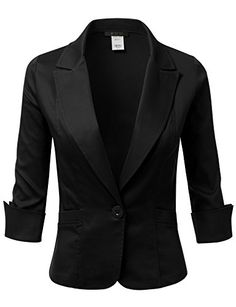 DRESSIS Women's Roll Up Sleeve Single Buttoned Blazer Jac… More