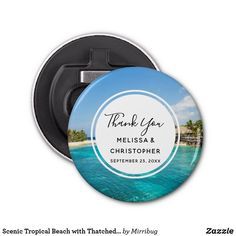 Scenic Tropical Beach with Thatched Huts Wedding Bottle Opener Tropical Beach Resorts, Wedding Bottles, Bottle Openers, Vacation Resorts, Wedding Thank You, Bottle Opener, Vacation Spots, Diy Bottle Opener