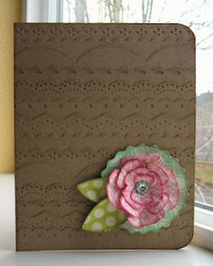 kraft card ... luv the texture made by the rows of kraft-on-kraft border punch strips ...