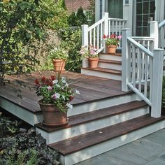 I love this look.Dark deck color(match floors inside) and with white rails to match the front of the house Front Porch Deck, Porch Stairs, Front Stairs, Side Porch, Front Door Steps, Front Porches, House With Porch, House Front, Porche Frontal