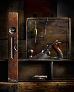 My Father's Tools, photograph by Harold Ross. Light Painting, Still Life, Sculpting with Light, Light Painting, Vintage tools, Vintage machinery