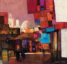 Carpet Bazaar Watercolour and mixed media: 14 x 15 inches,