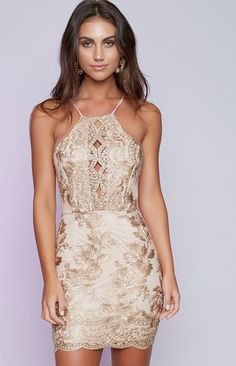 fb3fe2f5d02c Best item 2017 Summer Style Spaghetti Strap Gold Floral Embroidery Dress  Elegant Women Sexy Halter Backless