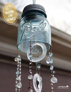 Tutorial Diy Chimes From Mason Jar Savedbyloves Upcycle Repurpose Mason Jar Projects, Mason Jar Crafts, Mason Jar Lighting, Mason Jar Lamp, Wine Bottle Crafts, Bottle Art, Glass Bottle, Bottles And Jars, Glass Jars