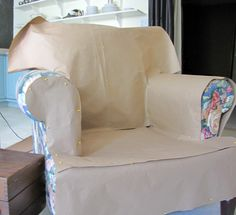 How to make a paper pattern for a slipcover. (This looks way easier than what I've done before!)