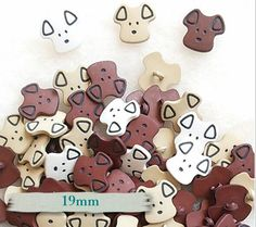 BF02, kit de 6, Bouton, 19mm, Chien, bouton chien, boutons chiens, brun, beige, blanc, faune, Livraison GRATUITE avec un autre achat