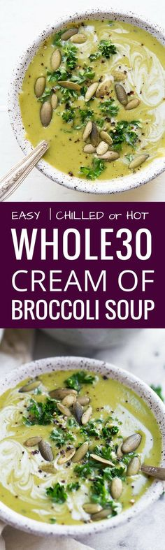 Cream of Broccoli Soup. A homemade recipe for cream of broccoli soup thats filled with nutritious bone broth and nutrient dense vegetables. This soup is incredibly creamy and delicious. Whole30 Soup Recipes, Best Paleo Recipes, Healthy Soup Recipes, Whole Food Recipes, Vegetarian Recipes, Paleo Soup, Primal Recipes, Healthy Food, Healthy Eating