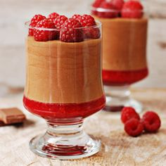Raspberry-Chocolate mousse (in Polish with translator) Low Carb Recipes, Cooking Recipes, Good Food, Yummy Food, Mini Desserts, Sweets Recipes, Bakery, Sweet Treats, Cheesecake