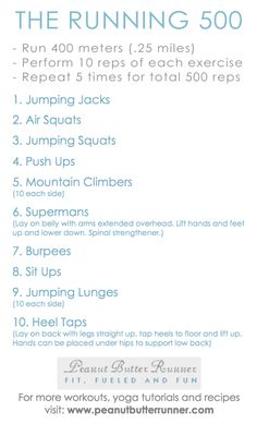 The Running 500 Workout  http://lifeandcity.tumblr.com