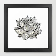 Lotus Flower, Black and white, Nature, Organic design, drawing, abstract, unique, lines, pattern, Framed Art Print by Treelovergirl - $35.00