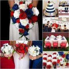 Blue Red Wedding, Red Bouquet Wedding, Wedding Flowers, Army Wedding Colors, Blue Bouquet, July 4th Wedding, Dream Wedding, Wedding Day, Trendy Wedding