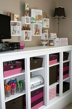 love this cubby hole storage crafts room