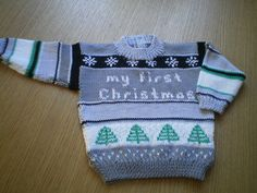 £2.50 + VAT PDF knitting pattern for a gorgeous little baby jumper specially for Christmas, 3 sizes by Angela Turner