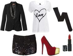 Cold weather party outfit: black blazer, white shirt, sparkly skirt, red or pink heels, black tights, red lipstick
