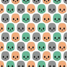 Orange, green and grey skulls fabric by petitspixels on Spoonflower - custom…