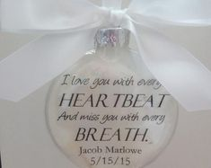 """Husband Memorial Ornament """"'Til Death Do Us Part Wasn't Long Enough"""" In Memory Keepsake Bereavement Gift Sympathy Gift Christmas Bauble Glass Ornaments, Christmas Ornaments, Ornaments Ideas, Christmas Time, Christmas Ideas, Christmas Crafts, Christmas Decorations, Knitted Owl, Loss Of Loved One"""