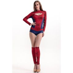 Womens Cool Spider Man Halloween Costume Red ($25) ❤ liked on Polyvore featuring costumes, red, womens halloween costumes, womens costumes, white halloween costumes, ladies costumes and ladies halloween costumes