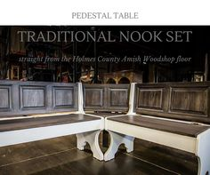 traditional amish corner nook with storage and trestle table amish corner breakfast nooks