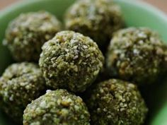 spiraling balls--sunflower seeds, chia seeds, medjool dates, sultanas, spirulina, goji berries