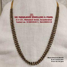 18k Gold Jewelry, Gold Jewellery Design, Bridal Jewellery, Beaded Jewelry, Black Diamond Chain, Gold Mangalsutra Designs, Fashion Jewelry, Women's Fashion, South Indian Jewellery