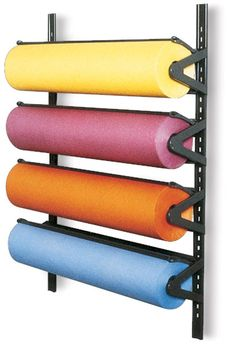Steel rack holds up to 4 paper rolls, any width up to For wall-mounting only. Craft Storage Cart, Paper Storage, Fabric Storage, Craft Organization, Office Storage, Organizing, Wrapping Paper Station, Shop Shelving, Craft Room Design