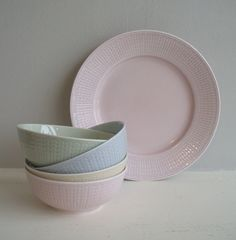 Swedish Grace - pink, blue and green Gentle , peaceful plates, the food would be enhanced