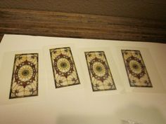 Dollhouse set of 4 stained glass window inserts for Half Scale