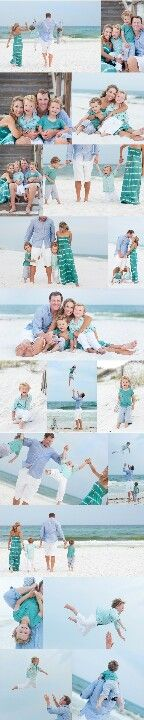 Family Beach Picture Ideas. Like this color coordinating much better than the typical tan pants and white shirts.
