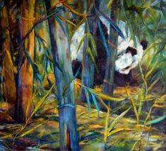 Panda In Bamboo Painting by Peggy Wilson