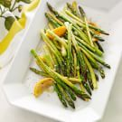 Try the Roasted Asparagus with Lemon Recipe on williams-sonoma.com/  My husband actually ate seconds and he doesn't really like asparagus!