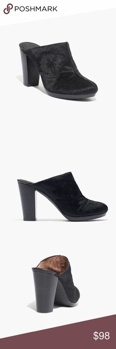 "MADEWELL: THE ANDIE HIGH-HEEL CLOG IN CALF HAIR DETAILS •Calf hair upper. •Leather lining. •3 1/2"" heel. •Man-made sole. •Worn once and in amazing condition. Madewell Shoes Mules & Clogs"