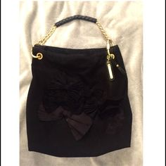 Juicy Couture Large Wool Hobo Satchel Cotton material black hobo bag. Pre-owned, authentic, and in good condition.  Inside has 3 pockets and very clean. Juicy Couture Bags Satchels