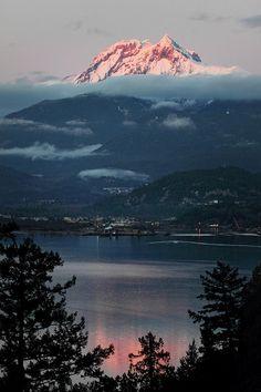 Mount Garibaldi with Diamond Head overlooking Squamish on Howe Sound, British Columbia, Canada.