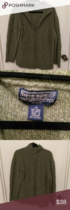 Gorgeous 100% wool sweater Gorgeous 100% wool sweater. Zip up.Never worn. Heafty weight and fabulous newton trading co Sweaters