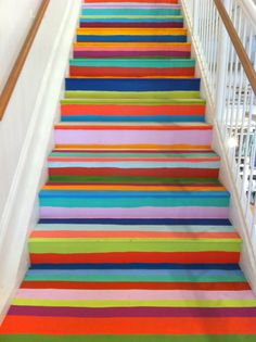 These may be the best stairs ever. Wish I had stairs to do this on in my house! Painted Stairs, Painted Floors, Deco Boheme, Stairway To Heaven, Stairway Art, Home And Deco, Stairways, House Colors, My Dream Home