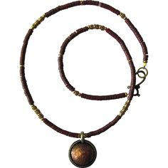Men's Choker with Tibetan Coin Pendant and Pipestone Heishis with Tierra Cast Accents
