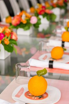 DIY Orange + Leaf Place Cards. Could use whichever fruit coordinates with your theme colour
