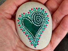 a wishful heart. make a wish. thinking of you. i love you. painted rock (sea stone) from Cape Cod. The colors on this sea stone are