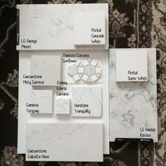Quartz options Comparison sitting on a glossy white tile.   LG Viatera Rococo LG…