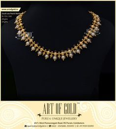 Champagne Pearls with Minimal Gold work and complimenting Garnet Stones make this necklace an ideal evening wear. Pearl Necklace Designs, Jewelry Design Earrings, Gold Earrings Designs, Gold Jewellery Design, Antique Jewellery, Gold Designs, Handmade Jewellery, Pearl Jewelry, Beaded Jewelry Designs