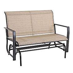 Cloud Mountain Outdoor Patio 2 Person Loveseat Rocking Bench Furniture Patio Swing Rocker Lounge Glider Chair, Tan