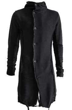 Visions of the Future // THOM KROM | Hooded boucle cotton cardigan | Black